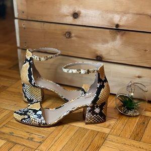 ALDO Snakeskin Yellow Black Chunky Heel NWT
